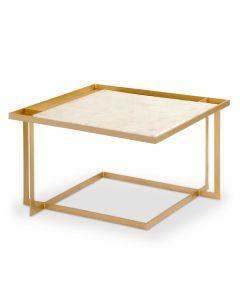 Table basse carrée Tocade Marbre et Métal Or