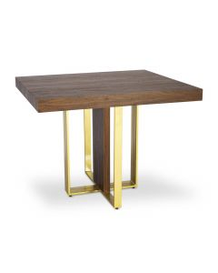 Table extensible Teresa Gold Bois noisette pieds Or