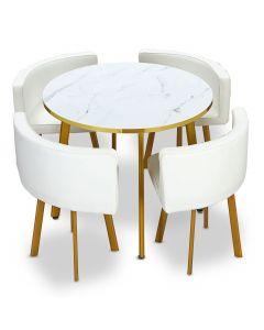 Table ronde et chaises Riga Effet Marbre et Or