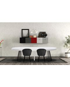 Table ronde extensible Grivery Blanc pieds Noir
