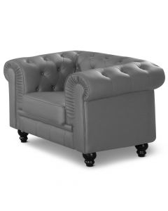 Grand fauteuil Chesterfield Gris