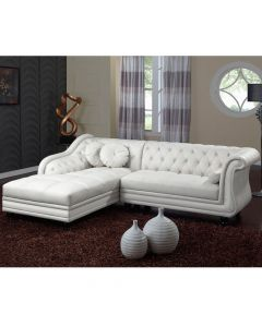 Canapé d'angle Brittish Blanc style chesterfield