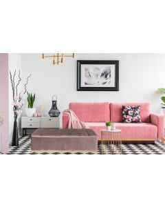 Banc coffre Alexandrie Velours Rose Pied Or