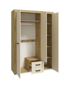 Armoire 3 portes et 2 tiroirs Denvera Chêne clair