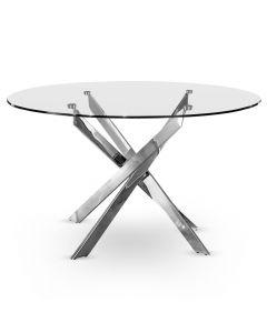 Table ronde en verre transparent et pieds en métal chromé Croisade Chrome