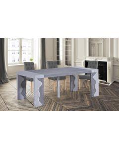 Table Console extensible Ariel Laquée Gris & Chêne Gris