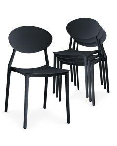 Lot de 4 chaises empilables Balagan Noir