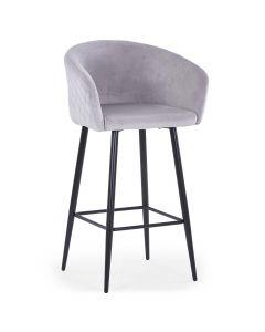 Chaise de bar Bobby Velours Argent