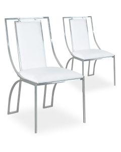 Lot de 2 chaises Catarina Simili P.U. Blanc pieds Argent