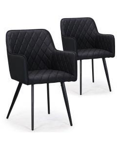 Lot de 2 chaises Clark simili Noir