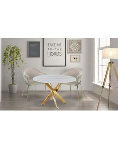 Table ronde Corix Verre effet Marbre Blanc et pieds Or