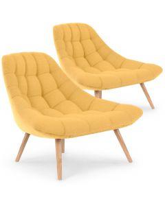 Lot de 2 fauteuils Danios Tissu Jaune