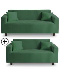 Housse de canapé d'angle extensible Decoprotect 2+3 places Vert