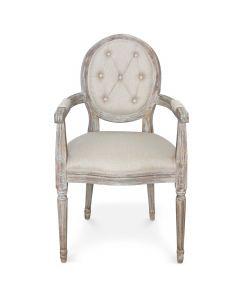 Lot de 2 chaises médaillon Louis XVI Dynasty Tissu Beige