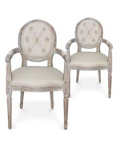 Lot de 2 chaises médaillon Louis XVI Dynasty Tissu Beige lot de 2