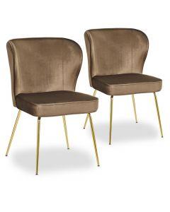 Lot de 2 chaises Elsa Gold Velours Camel