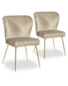 Lot de 2 chaises Elsa Gold Velours Taupe