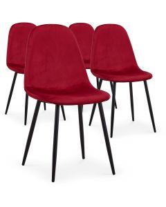 Lot de 4 chaises Gao Velours Rouge