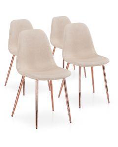 Lot de 4 chaises scandinaves Gao Tissu Beige pieds Or Rose