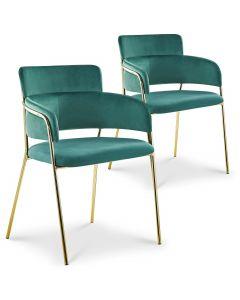 Lot de 2 chaises / fauteuils Ginko Velours Vert