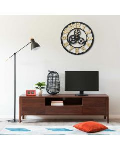 Horloge murale Astana D60cm Bois Or et Noir