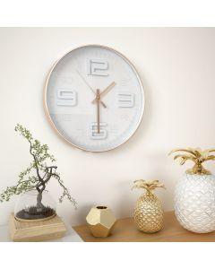 Horloge murale Shady D30cm Blanc et Cuivre