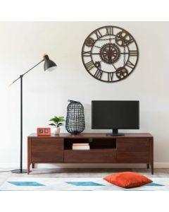 Horloge murale Chainon D80cm Métal Marron