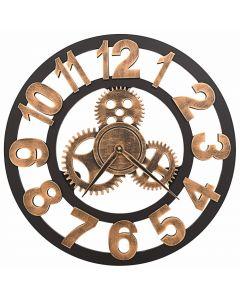 Horloge murale Fagus D58cm Métal et Bois Noir et Or