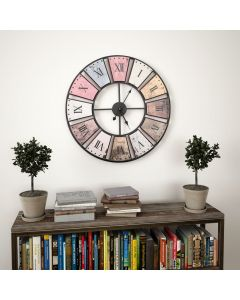Horloge murale vintage Astoria D60cm Bois Multicolore