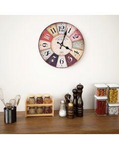 Horloge murale vintage Colorado D30cm Bois Multicolore