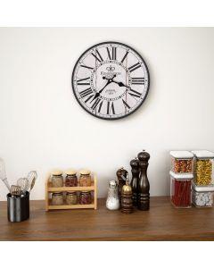 Horloge murale vintage Kensington D30cm Bois Beige et noir