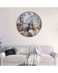 Horloge murale vintage Monroe D60cm Bois Gris