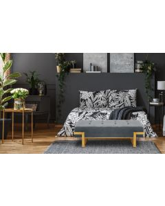 Banquette Istanbul Velours Argent Pieds Or