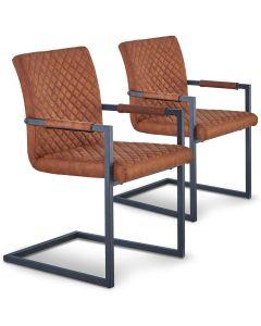Lot de 2 chaises matelassées kansas Tissu Marron Vieilli