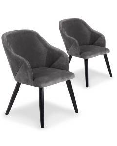 Lot de 2 fauteuils Liberto Velours Gris