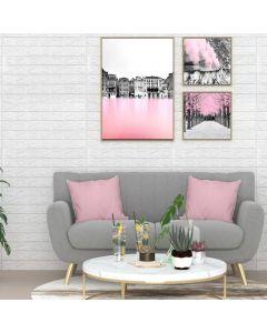 Lot de 10 papier peint autoadhésif Wall Effet 3D Motif Briques Blanc