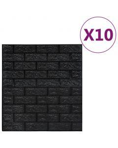 Lot de 10 papier peint autoadhésif Wall Effet 3D Motif Briques Noir
