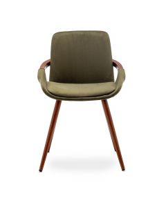 Lot de 2 chaises scandinaves Kilembe Velours Kaki