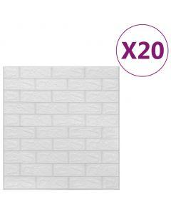 Lot de 20 papier peint autoadhésif Wall Effet 3D Motif Briques Blanc