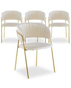Lot de 4 chaises Tabata Velours Beige