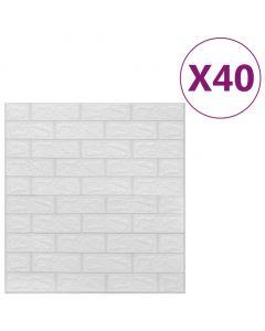 Lot de 40 papier peint autoadhésif Wall Effet 3D Motif Briques Blanc