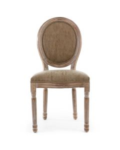 Lot de 2 chaises de style médaillon Louis XVI Bois patiné & simili taupe