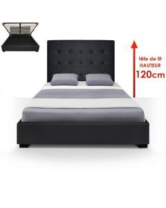 Lit Coffre Trevene + Sommier 140cm Noir