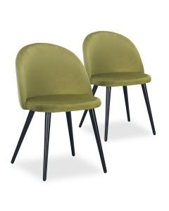 Lot de 2 chaises Maury Velours Kaki