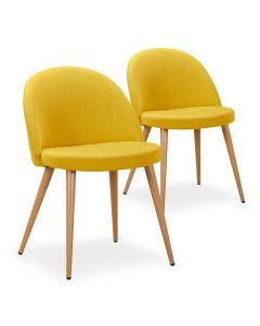 Lot de 2 chaises scandinaves Maury tissu Jaune
