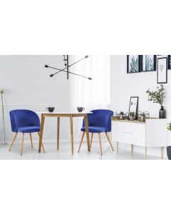 Lot de 2 chaises scandinaves Minima velours Bleu