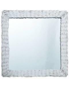 Miroir carré Champetral 50x50cm Osier Blanc
