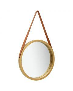 Miroir mural ronde avec sangle Cyclope D40cm Or