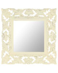 Miroir sculpté à la main Madurai 50x50cm Bois de manguier massif Blanc