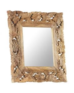 Miroir sculpté à la main Madurai 50x50cm Bois de manguier massif Marron